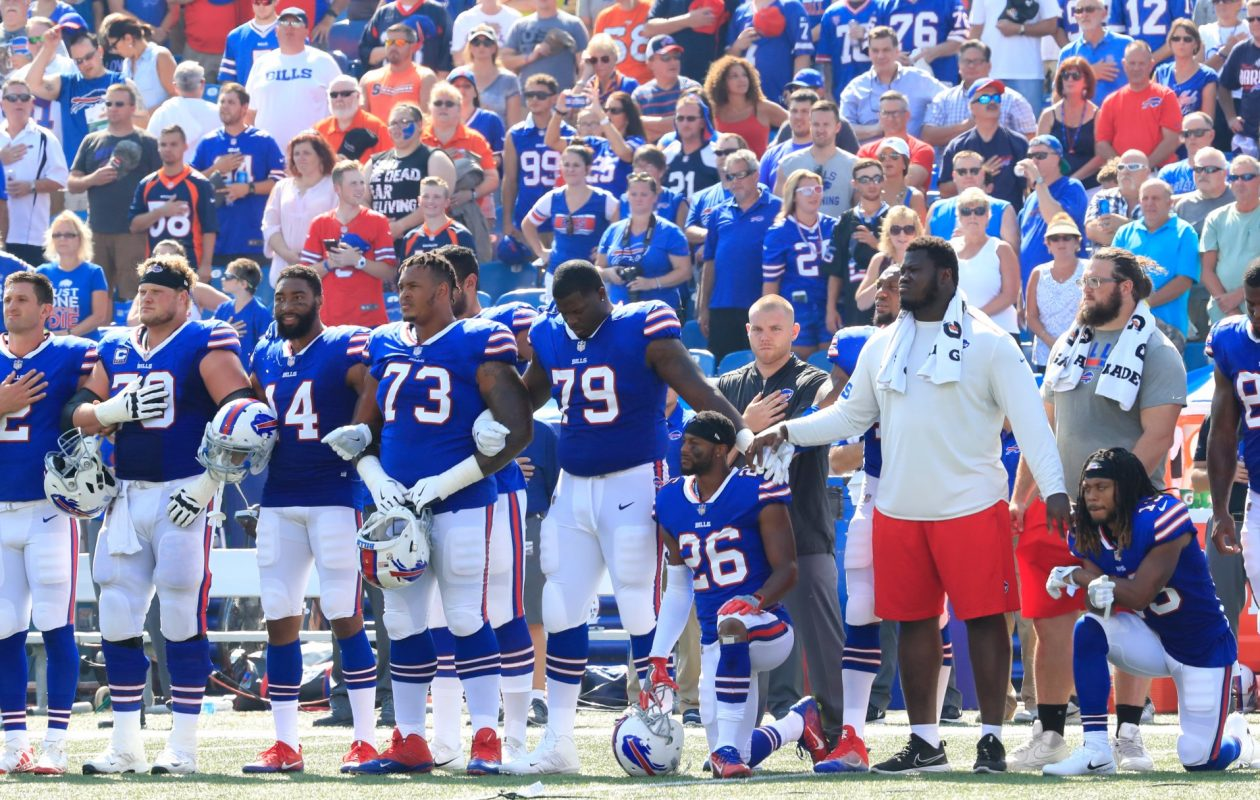 Protests during the national anthem, rhetoric from President Trump and remarks from Hall of Fame quarterback Jim Kelly have combined to put the Bills, and their coach, in a difficult position. (Harry Scull Jr./Buffalo News)