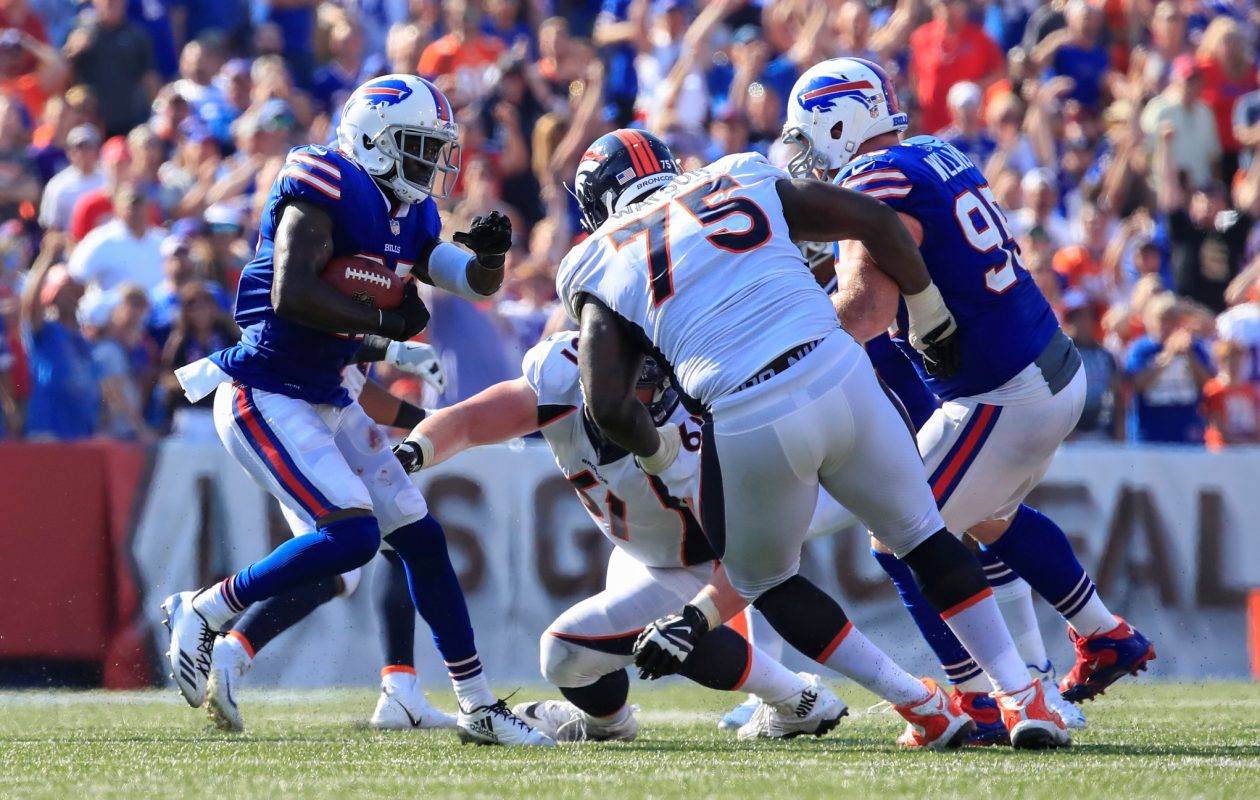 Buffalo Bills cornerback Tre'Davious White (27) looks for extra yards after intercepting a Denver Broncos pass during the fourth quarter of an NFL football game at New Era Field on Sunday, Sept. 24, 2017. (Harry Scull Jr./ Buffalo News)