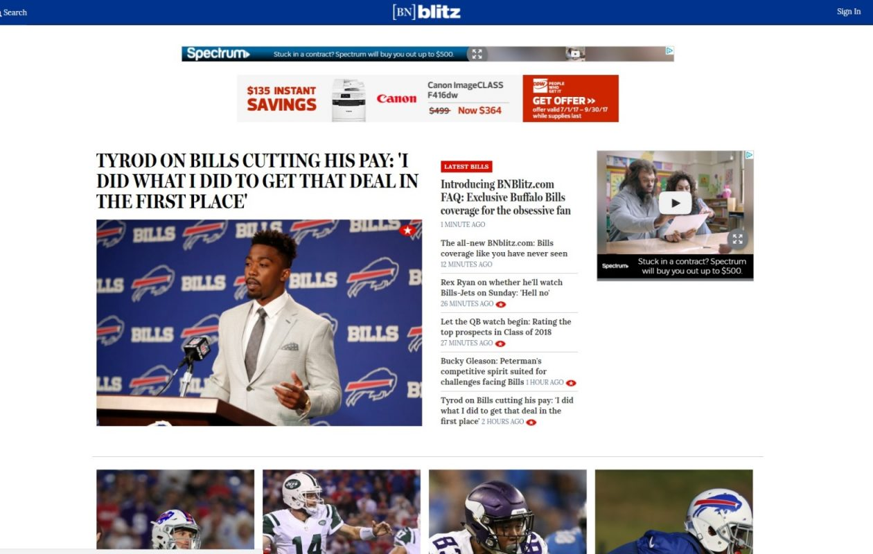 The new BNblitz.com provides exclusive coverage for the obsessive Bills fan.