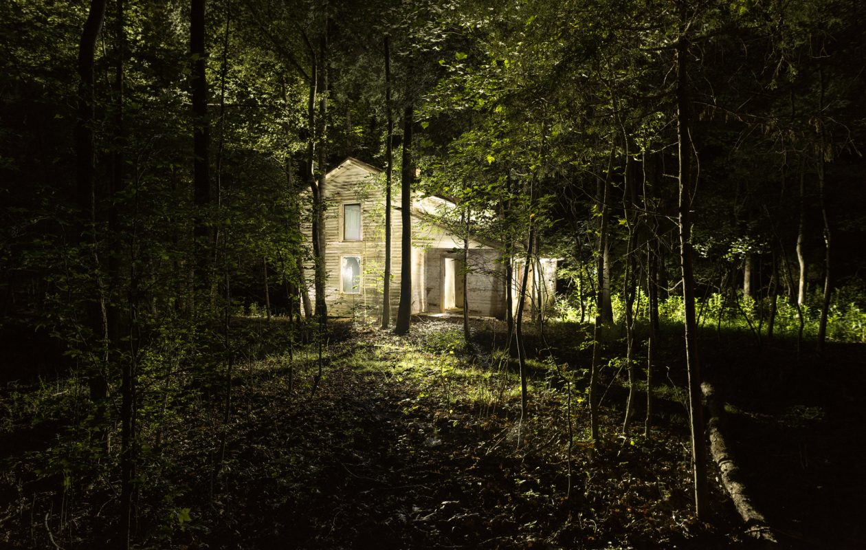 Michael Bosworth's photograph of an abandoned house, shot using a technique known as light-painting, is on view in the Burchfield Penney Art Center.