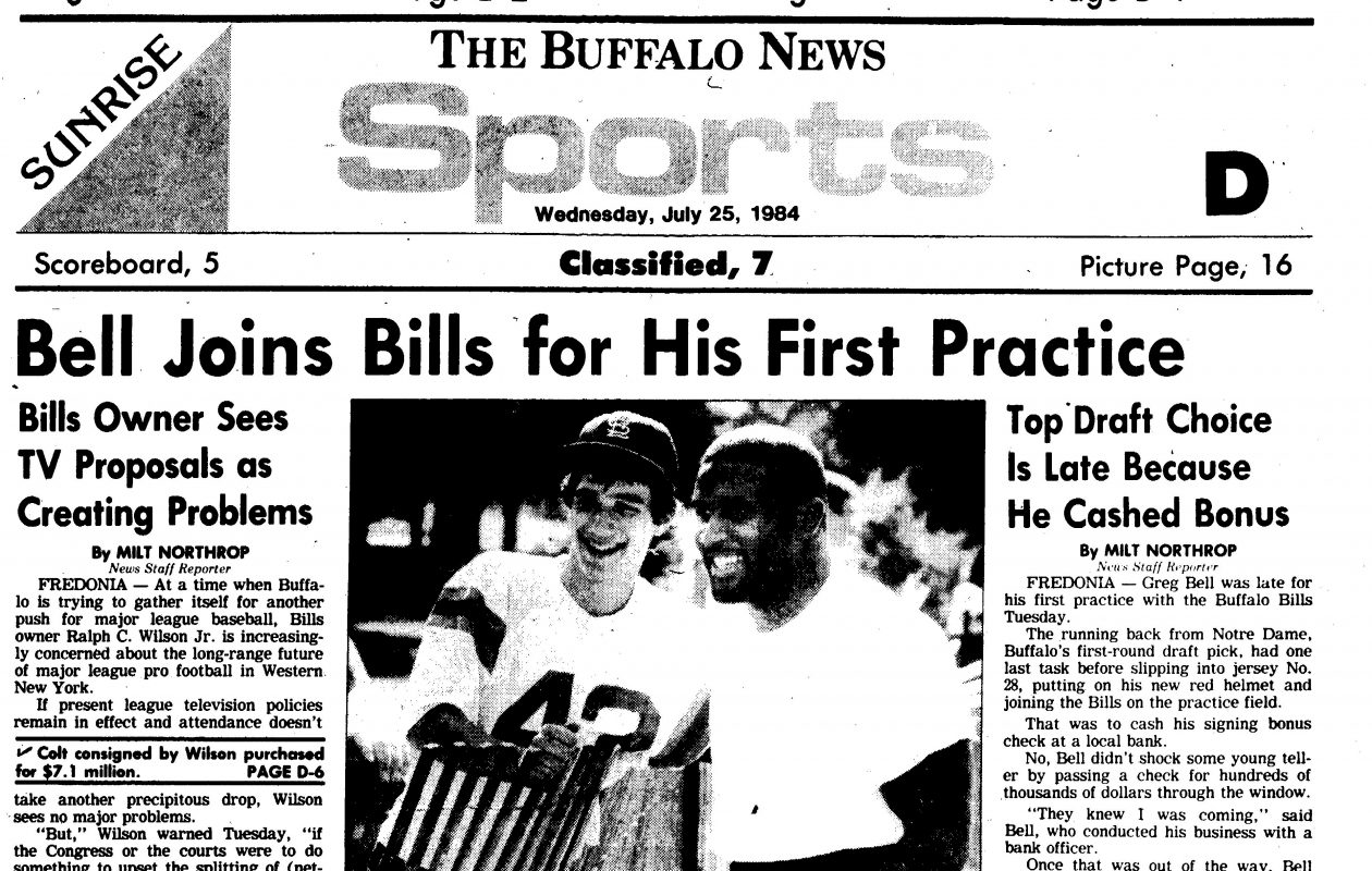 The original caption on the photo from The Buffalo News dated July 25, 1984: One of Greg Bell's early acquaintances at the Bills' training camp was spectator Bucky Gleason of Hamburg.