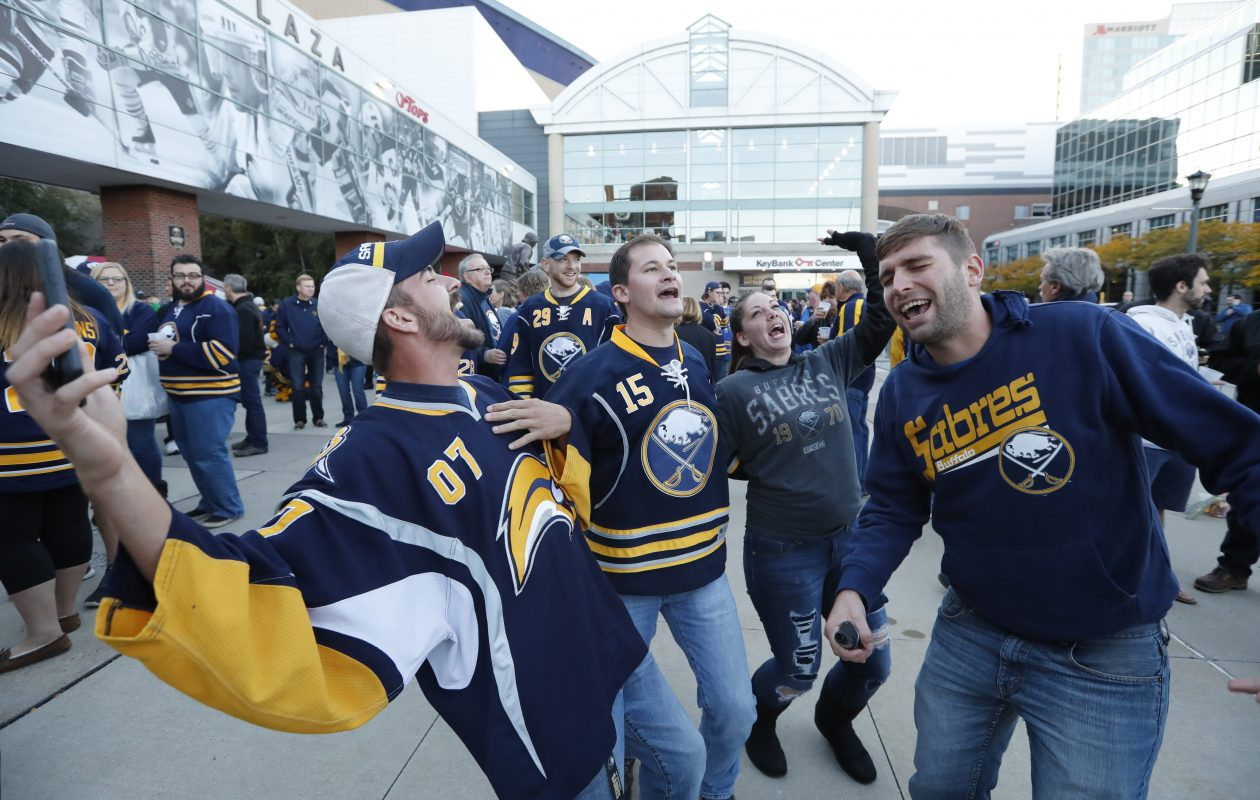 Buffalo Sabres fans enjoy the Party in the Plaza prior to the Sabres' 2016 opener. Harry Scull Jr./Buffalo News)