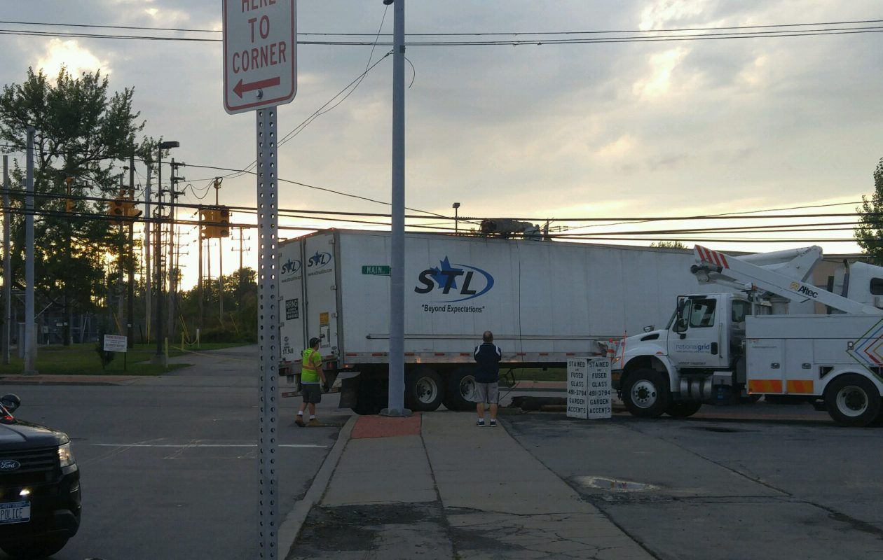 A Canadian truck struck a pole Wednesday afternoon, shutting down Delton Street in the City of Tonawanda overnight. (Provided by the City of Tonawanda Police)