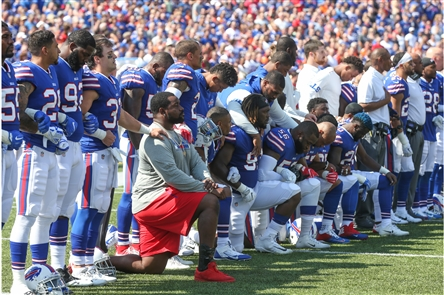 Bills, Broncos players protest during national anthem