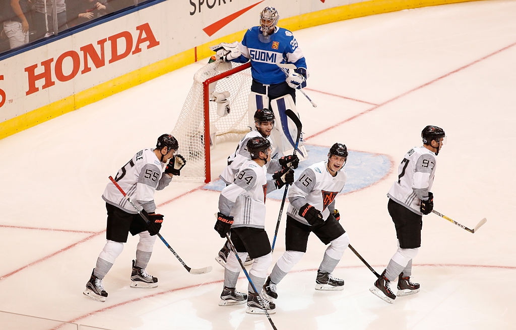 Jack Eichel (15) celebrates his goal against Finland along with Connor McDavid (97), Auston Matthews (34), Mark Scheifele (55) and Shayne Gostisbehere (Getty Images).