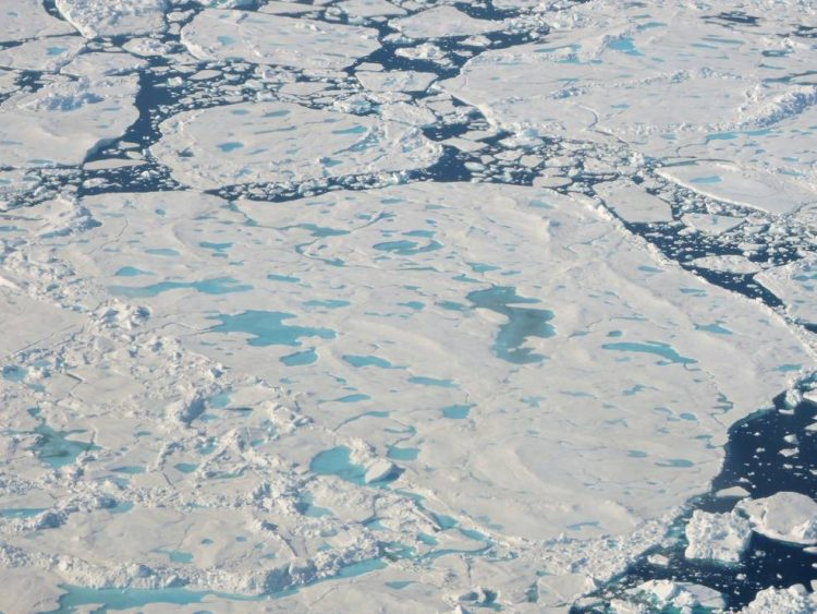 A collection of broken up sea ice floes of various sizes, floating north of Greenland. Melt ponds are visible on the ice surface. This photo was taken during an Operation IceBridge flight on July 24. (Photo courtesy of NASA/Robbie Russell)