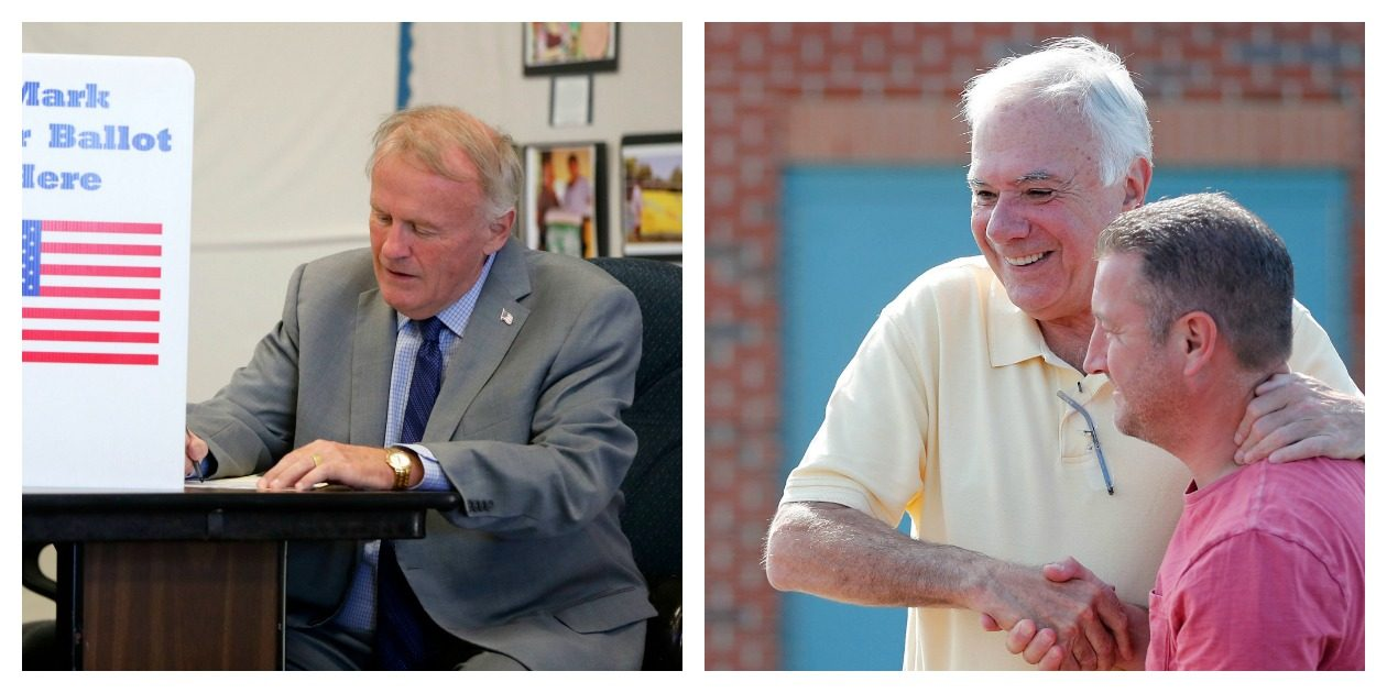Jim Shaw, right, was the winner over Dennis Gaughan in Tuesday's Democratic primary for Hamburg town supervisor.