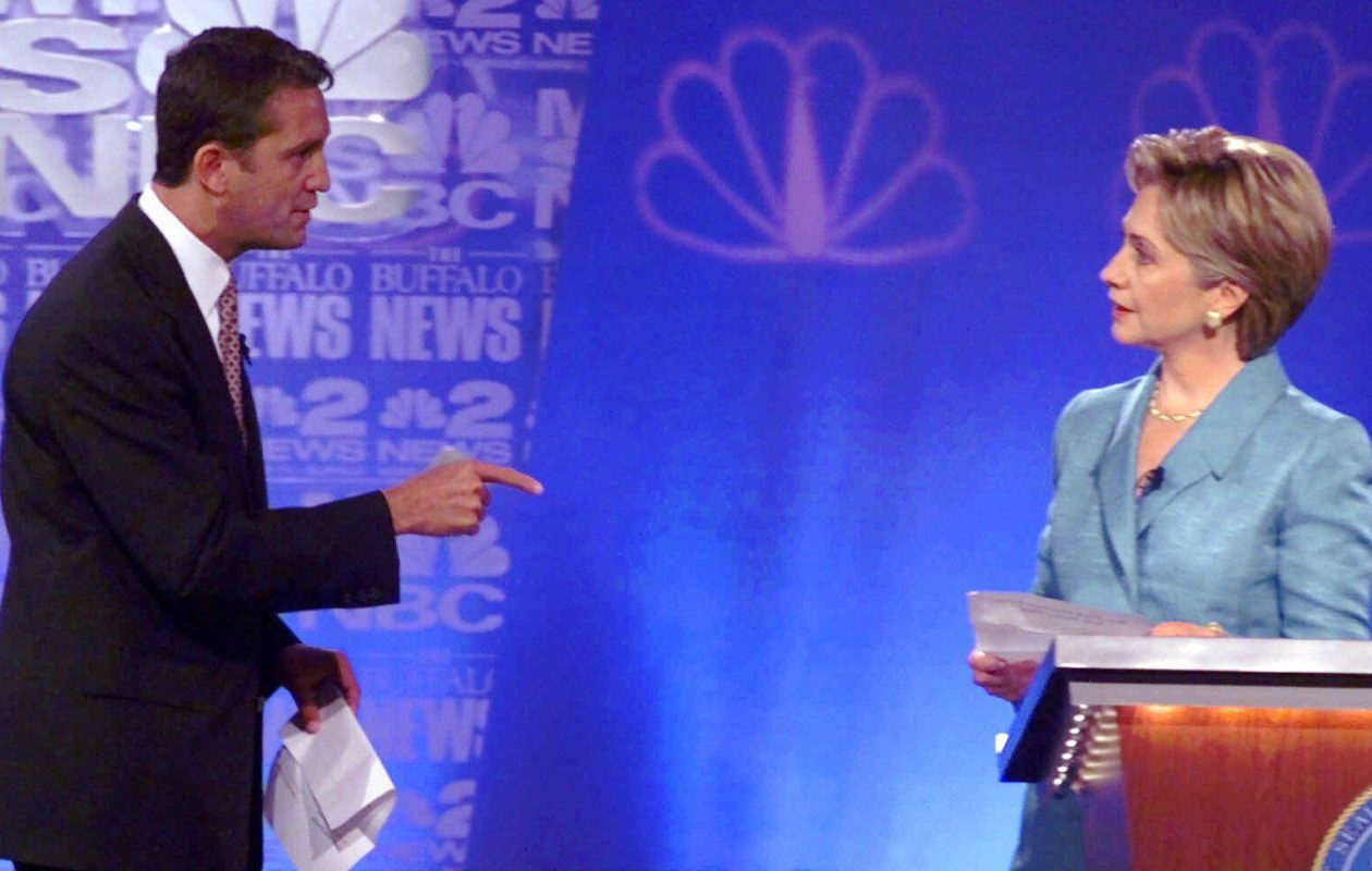 Having experienced then-Rep. Rick Lazio invade her space during their 2000 U.S. Senate debate, Hillary Clinton was ready when Donald Trump tried the same thing. But ignoring Trump didn't work as well as ignoring Lazio. (AP file photo)