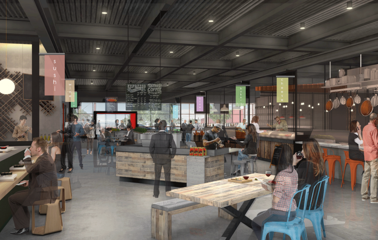 This rendering shows what Mercado Development has planned for its Hip City food hall coming to an outparcel at  Fashion Outlets of Niagara Falls. (Rendering courtesy Mercado Development)