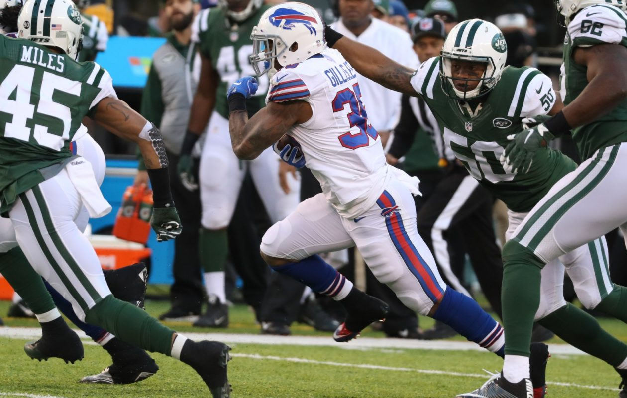 Jets linebacker Darron Lee, arm extended, had a strong rookie season for the Jets. (James P. McCoy/Buffalo News)