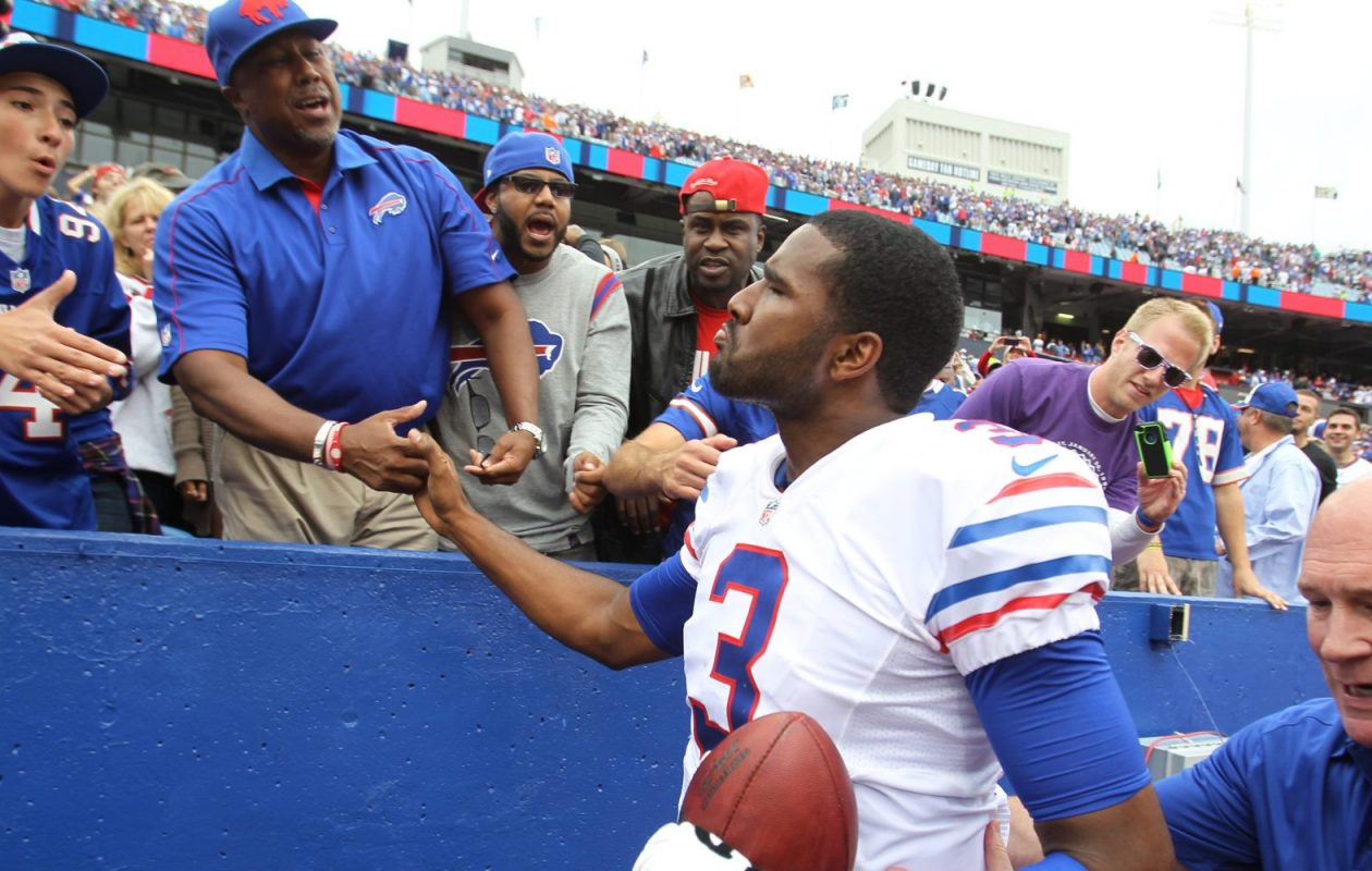 EJ Manuel's postgame exchange with his father, after a Bills 24-23 come-from-behind victory in 2013, was one his few positive memorable moments as a Bill. (James P. McCoy/Buffalo News)