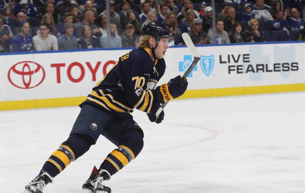 Alex Nylander is back on the ice Friday night. (James P. McCoy/News file photo).