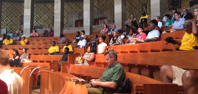 Attendees at Tuesday's Police Oversight Committee meeting.