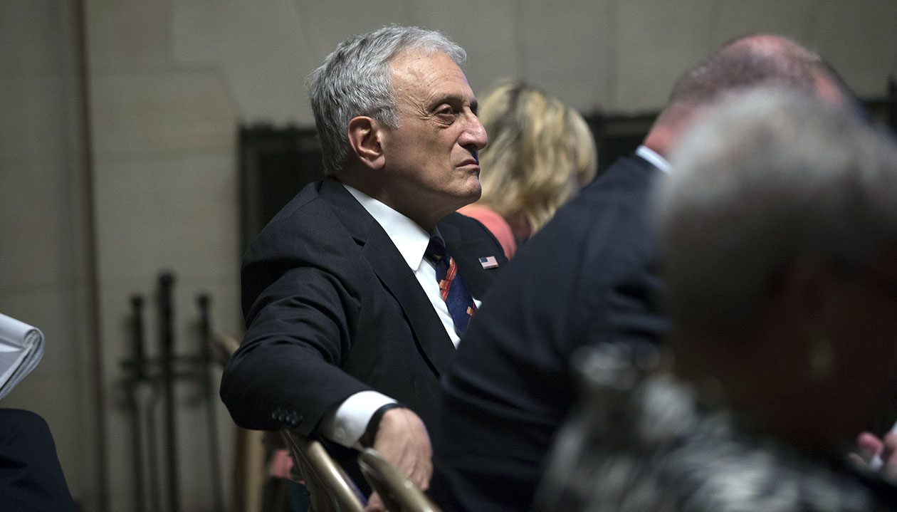 Carl Paladino listens to Dennis Vacco during closing arguments at the State Education Building on June 27 in Albany. (Mike Groll/Special to The News)