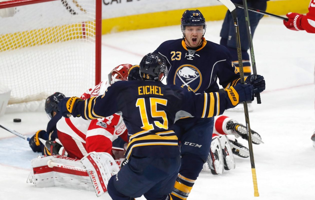 Sam Reinhart (23) and Jack Eichel are back together again (Harry Scull Jr./Buffalo News).