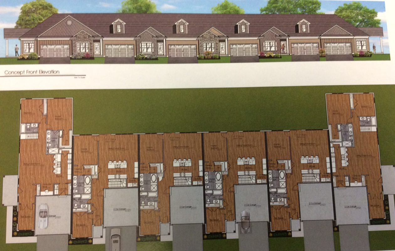 Rendering of a building of attached townhouses planned for Riverwalk Villa