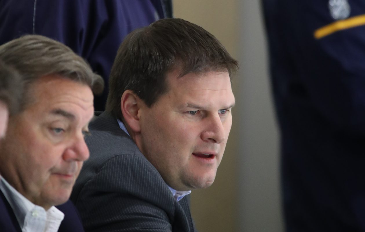 Sabres General Manager Jason Botterill, right, and Assistant GM Randy Sexton know there will be competition in training camp. (James P. McCoy/Buffalo News)