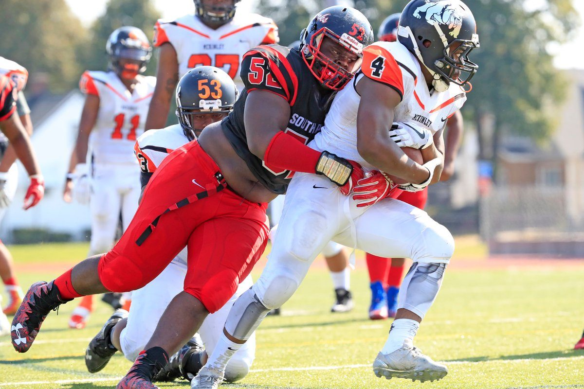 Jeremiah Sanders and the South Park defense made life difficult for Kaiyer Fields and the McKinley offense Saturday at All High Stadium. (Harry Scull Jr./Buffalo News)