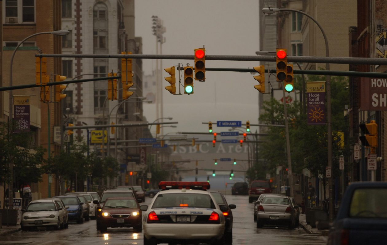 With some lights green and some red, the lack of synchronization — despite supposed efforts over the years — makes driving in Buffalo a maddening experience. (Harry Scull Jr./Buffalo News file photo)