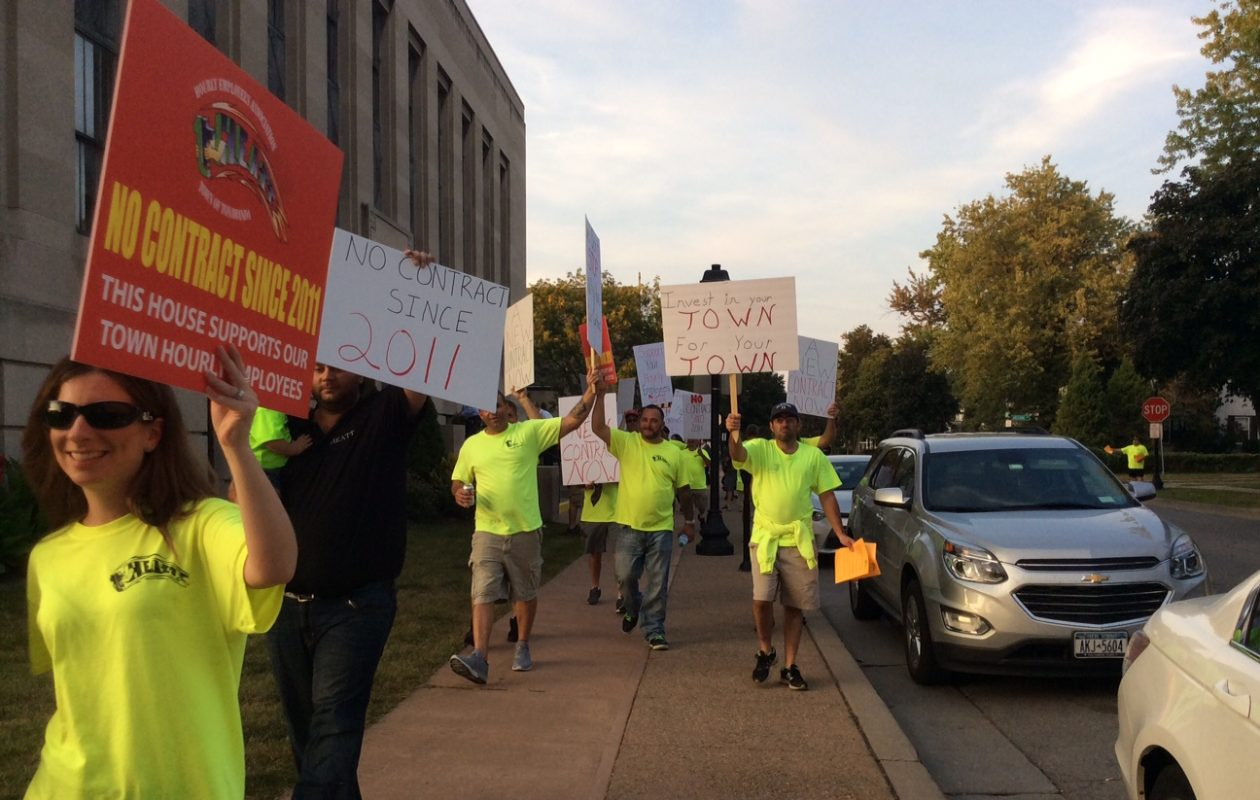 Hourly Employees Association of Town of Tonawanda picket outside the board meeting