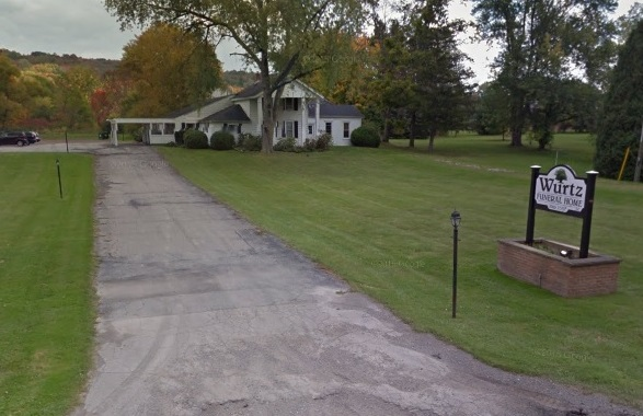 A Google Streetview image from September 2013 shows the Wurtz Funeral Home on Boston State Road.