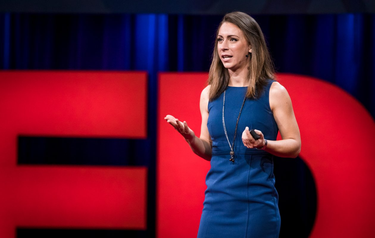 Kristin Poinar, a NASA climate scientist who will join the faculty at the University at Buffalo in January, speaking at a TED Talk earlier this year in Vancouver, Canada. (Credit: Ryan Lash/TED)