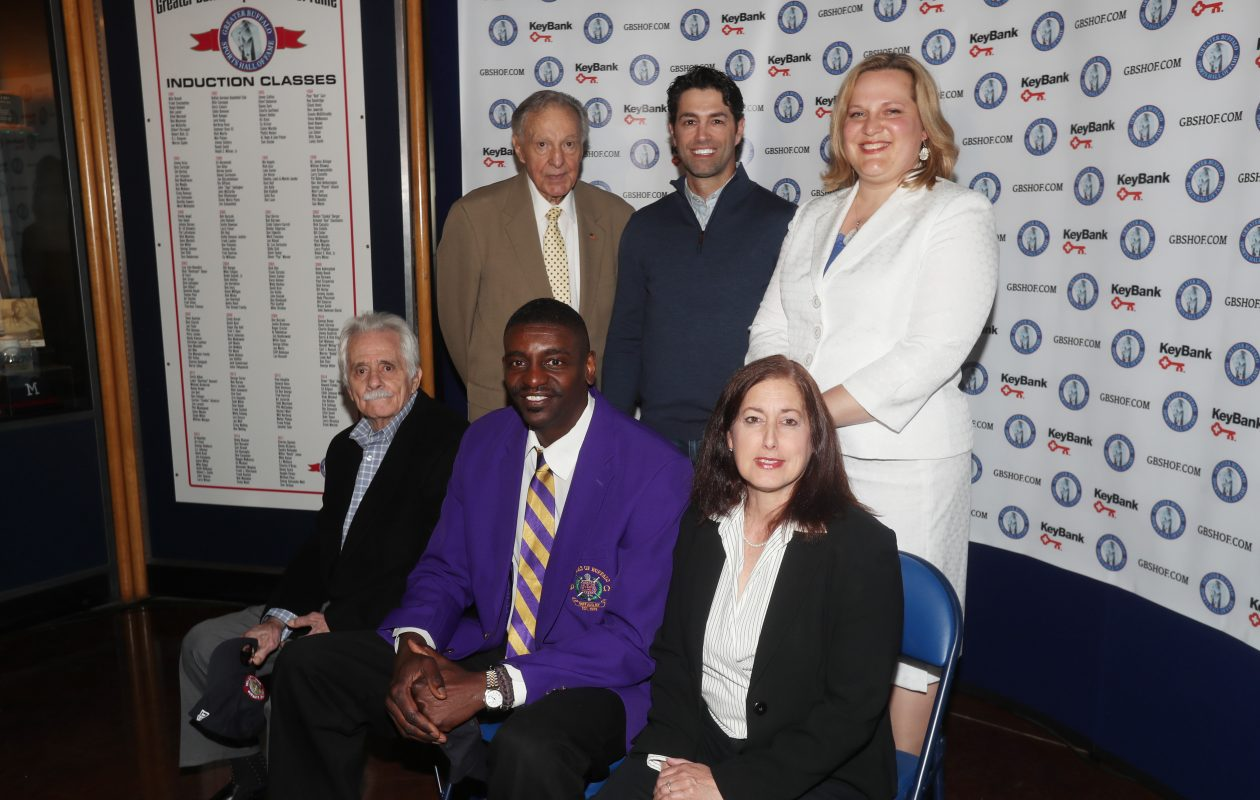 "Charles O'Brien (back row, left to right) is joined by Micheal Peca and Stacey Schroeder-Watt as well as (front row, left to right) Danny DiLiberto, Willie ""Hutch"" Jones and Jodi Hollander-Correa (representing her sister Sandra Hollander) at the introductory press conference for this year's 2017 Greater Buffalo Sports Hall of Fame inductees. (James P. McCoy / Buffalo News)"
