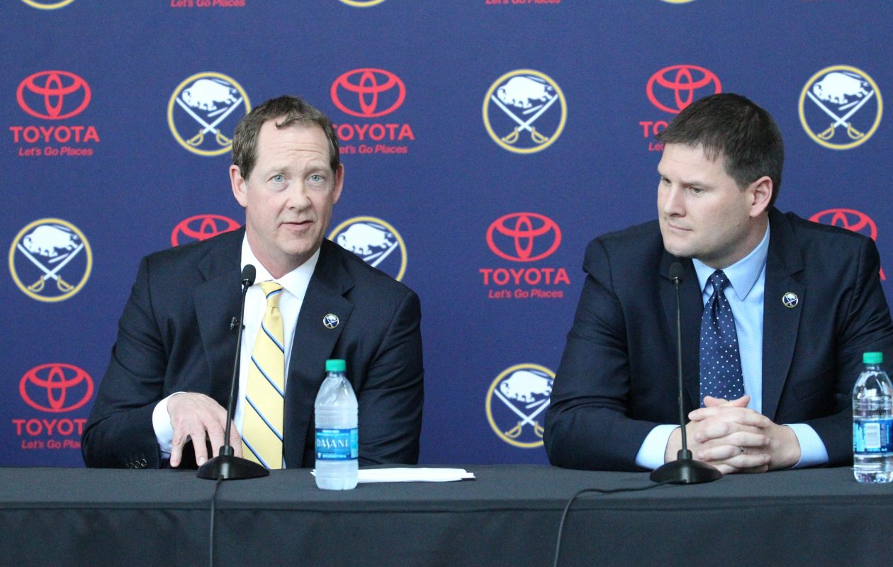 Sabres coach Phil Housley, left, and General Manager Jason Botterill are trying to change the culture of the team. (James P. McCoy/Buffalo News)