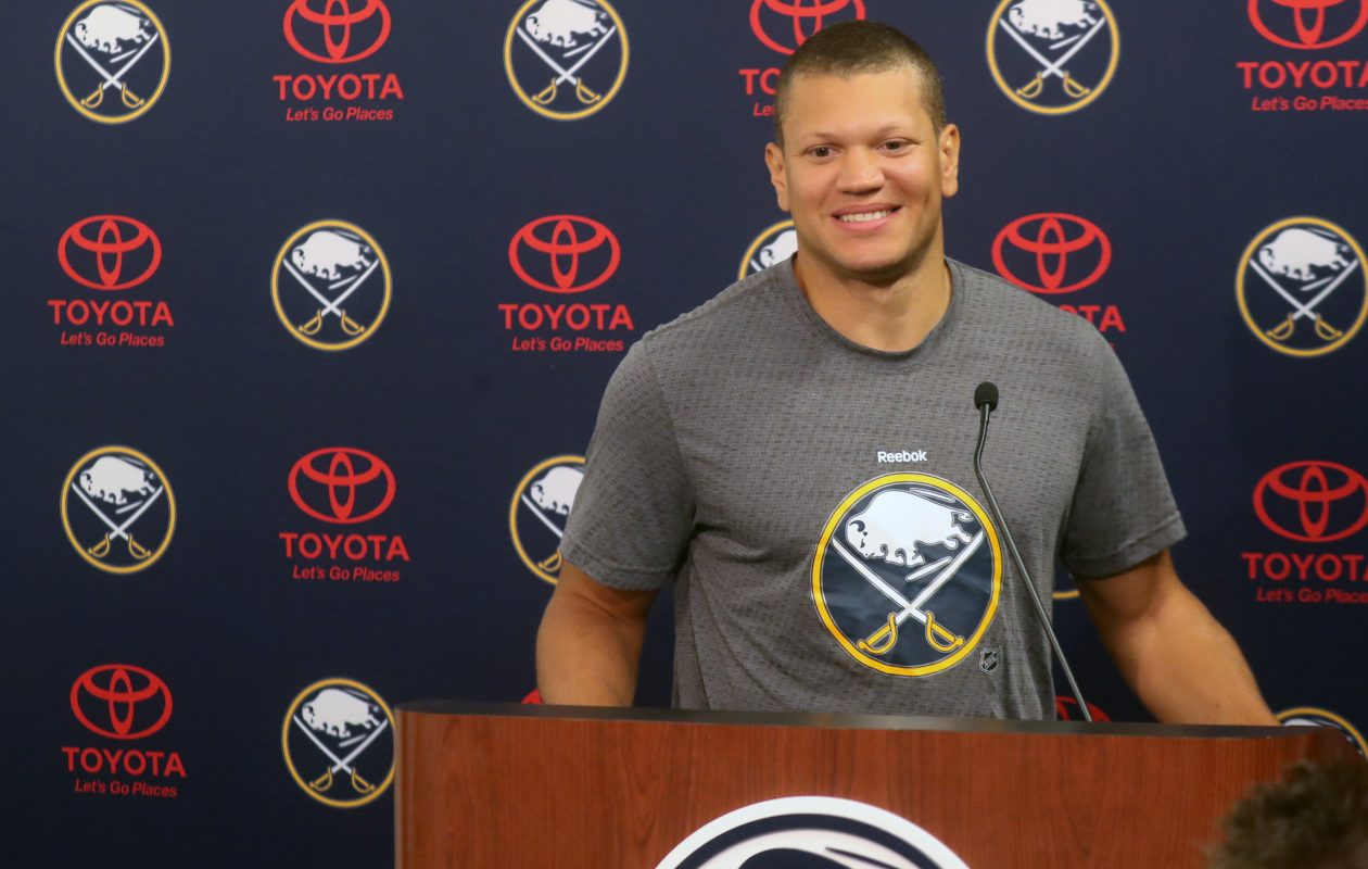 Kyle Okposo is back in the Sabres' lineup. (John Hickey/Buffalo News)