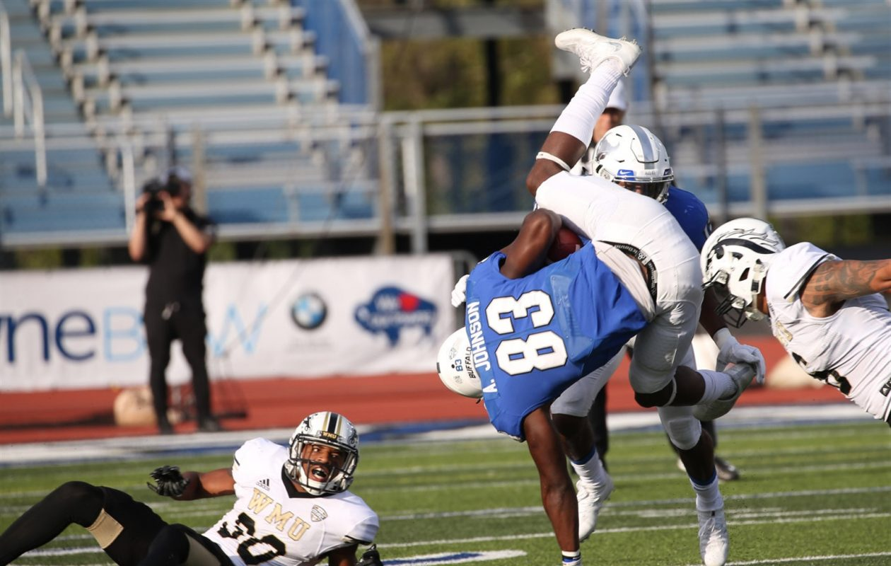 UB's Anthony Johnson finishes a completion during last week's 71-68 loss to Western Michigan. He leads the MAC with 631 receiving yards this season. (Sharon Cantillon/Buffalo News)