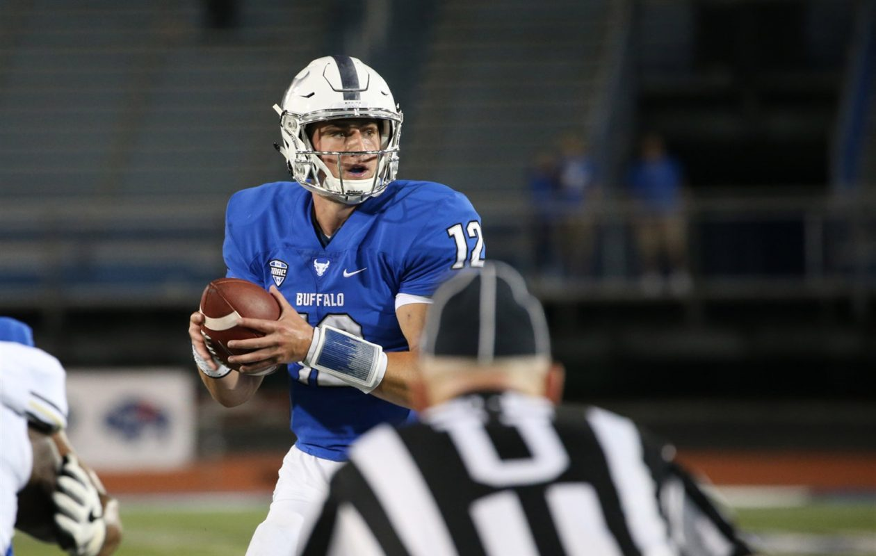 UB quarterback Drew Anderson passed for a record 597 yards and seven TDs against Western Michigan Saturday. (Sharon Cantillon/Buffalo News)