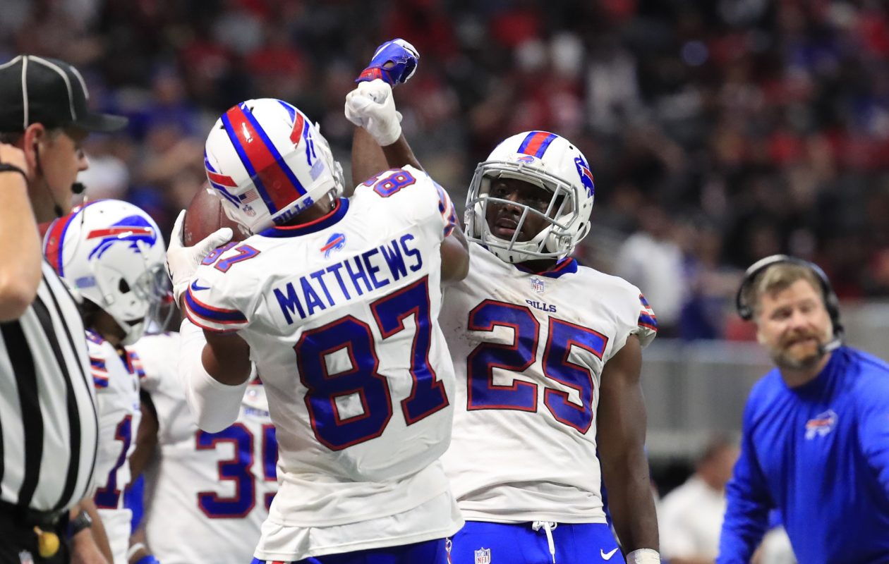 Jordan Matthews celebrates his touchdown catch against Atlanta with LeSean McCoy. (Harry Scull Jr./ Buffalo News)