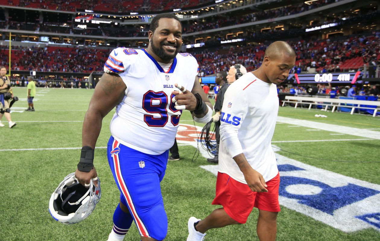 Buffalo Bills' Marcell Dareus is all smiles after defeating the Atlanta Falcons at Mercedes-Benz Stadium on Sunday, Oct. 1, 2017. (Harry Scull Jr./Buffalo News)