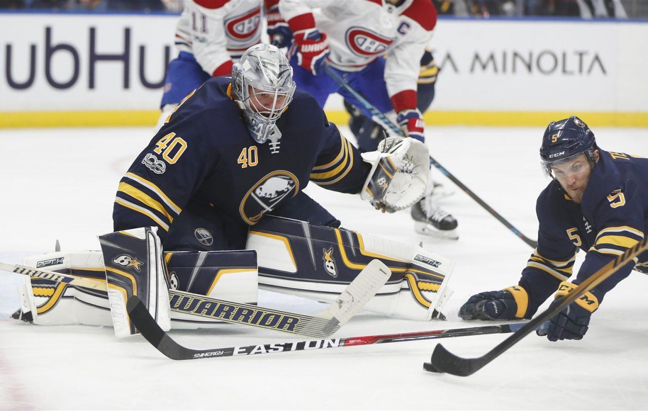 Sabres goaltender Robin Lehner is ill and missed practice Thursday. (Mark Mulville/Buffalo News)