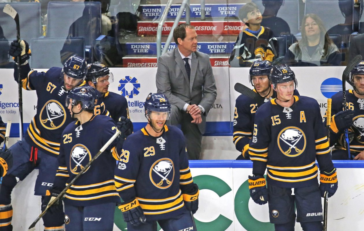 Whatever the Sabres have been doing the past two games, it's not what coach Phil Housley is teaching. (Robert Kirkham/Buffalo News)
