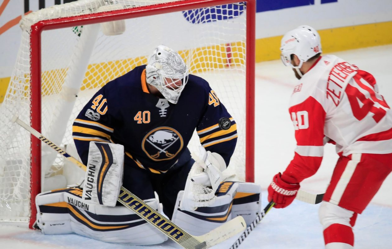 Robin Lehner made 32 saves against Henrik Zetterberg and Detroit on Tuesday. (Harry Scull Jr./Buffalo News)