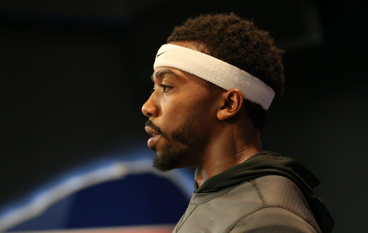 Buffalo Bills quarterback Tyrod Taylor speaks to the media. (James P. McCoy/Buffalo News)
