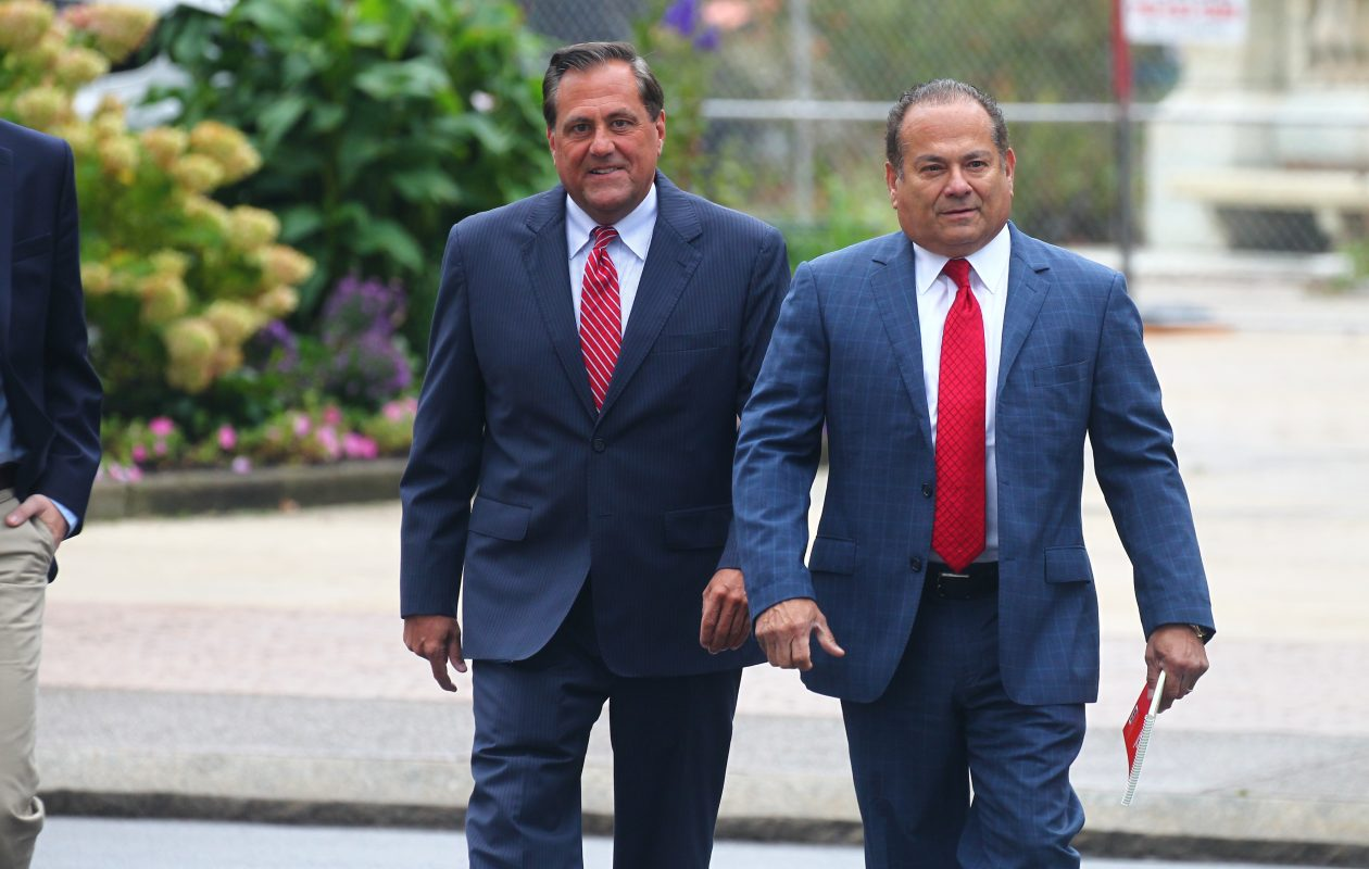 Steve Pigeon, left, a former political operative, and his attorney Paul Cambria walk to Robert H. Jackson United States Courthouse in Buffalo,  N.Y., on Friday, Oct. 6, 2017.  (John Hickey/Buffalo News)