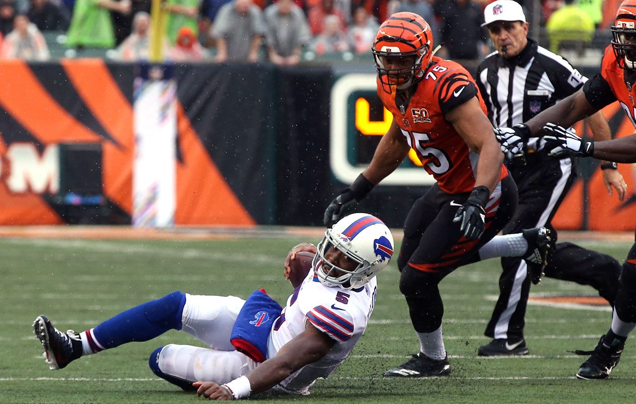 "Bills QB Tyrod Taylor shouldered the blame for squandering another defensive gem in Sunday's loss to Cincinnati. ""The defense did a great job getting us the ball back,"" Taylor said after getting sacked six times and posting a 63.6 rating vs. the Bengals, ""and on offense we laid an egg."" (James P. McCoy/News file photo)"
