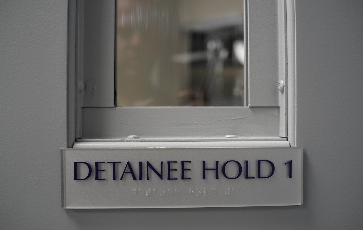 The door to a cell in the temporary detention center in the ICE Buffalo field office, Friday, Oct. 13, 2017.  (Derek Gee/Buffalo News)