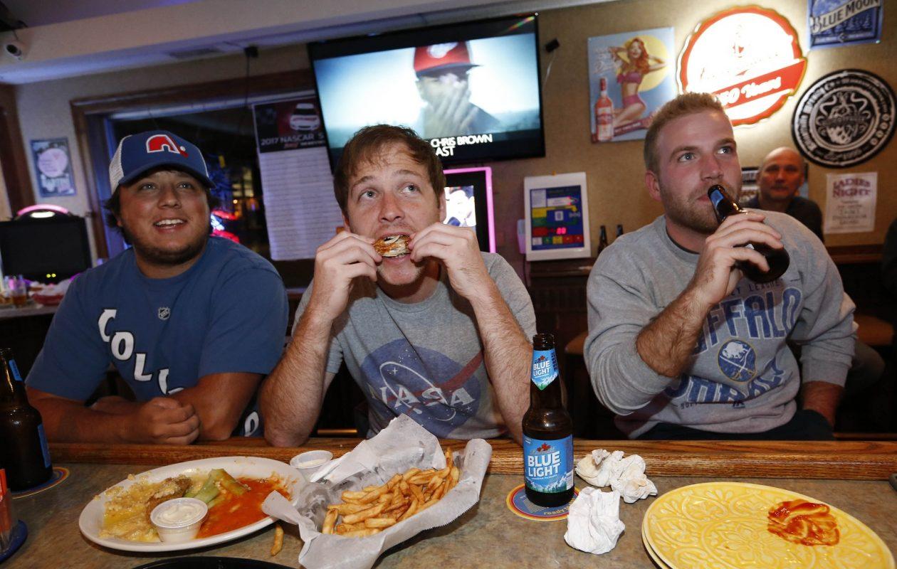 Hanging out at Nickel Creek Cafe, from left, Zach Smith of Buffalo, Matt Rademacher of Cheektowaga and Mark Lojacono of Lancaster. (Sharon Cantillon/Buffalo News)