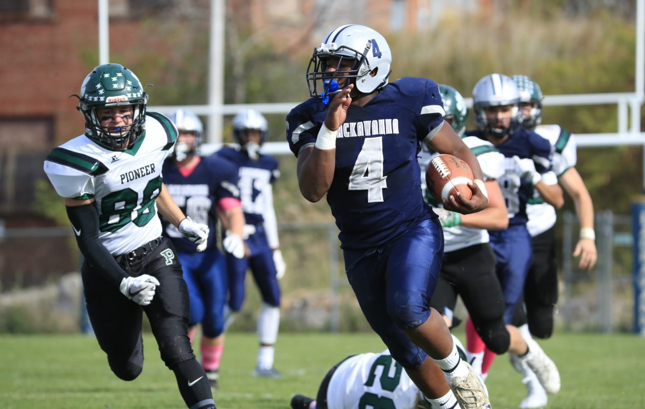 Lackawanna running back Khalil Horton runs for a 70 yard touchdown against Pioneer on Saturday at Veterans Stadium. (Harry Scull Jr./ Buffalo News)