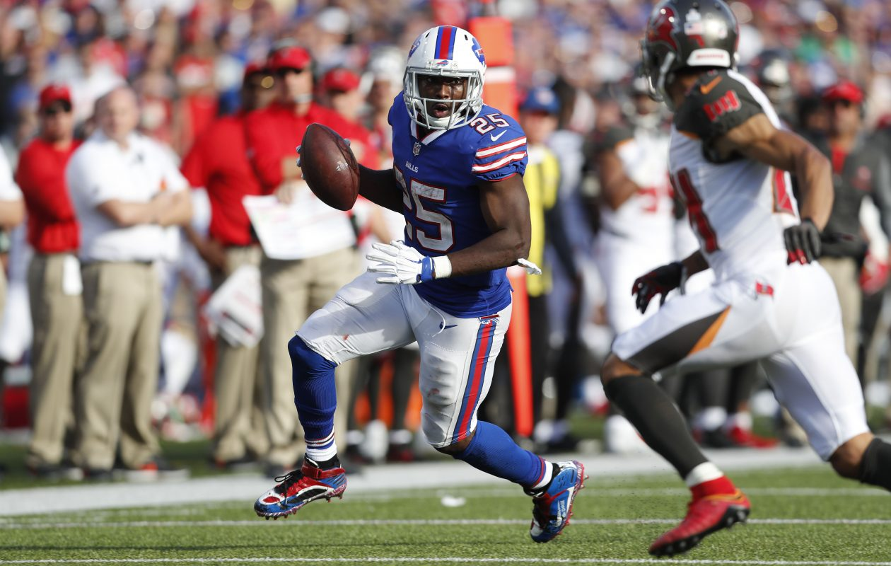 LeSean McCoy looks to get past the Buccaneers' Brent Grimes late in the fourth quarter. (Mark Mulville/Buffalo News)