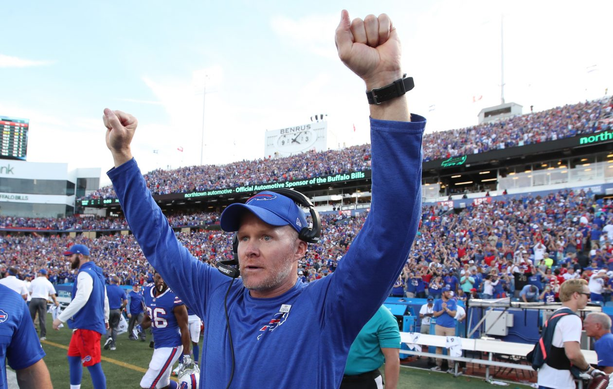 Buffalo Bills head coach Sean McDermott celebrates after beating the Tampa Bay Buccaneers. (James P. McCoy/Buffalo News)
