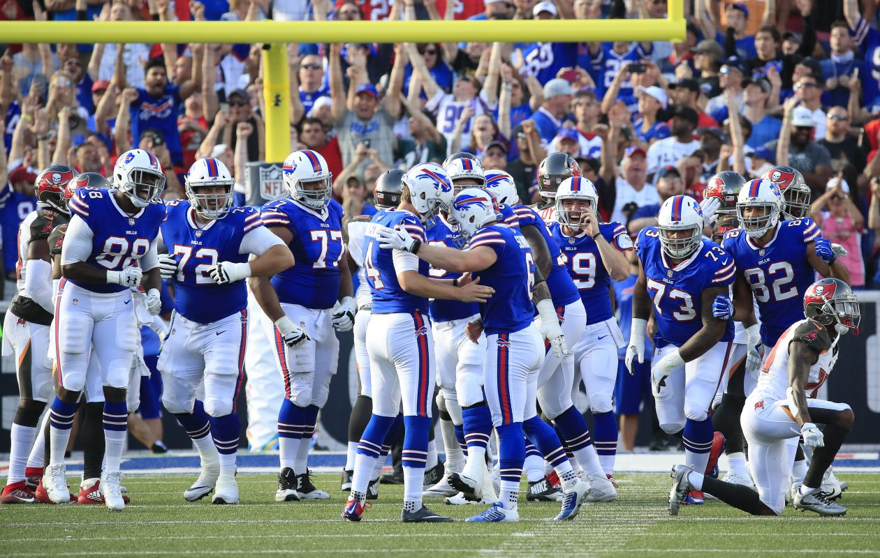 Buffalo Bills players celebrate Stephen Hauschka's game winning field goal against the Tampa Bay Buccaneers during the fourth quarter of an NFL football game at New Era Field on Sunday, Oct. 22, 2017. (Harry Scull Jr./ Buffalo News)