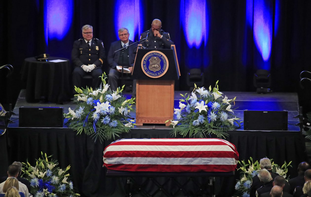 Tommy Champion, Buffalo Police office and partner of Craig E. Lehner speaks at the funeral for Buffalo Police officer Craig E. Lehner at the KeyBank Center on Wednesday, Oct. 25, 2017. (Harry Scull Jr./ Buffalo News)