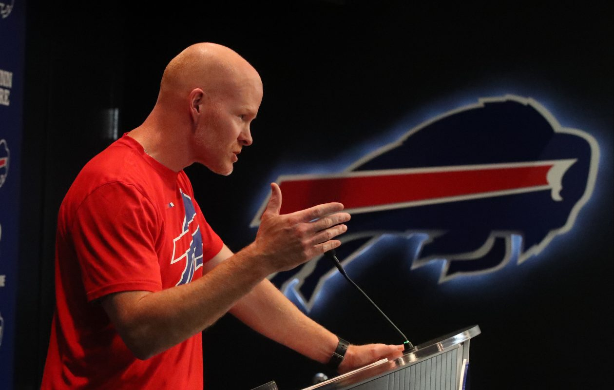Buffalo Bills head coach Sean McDermott speaks at a press conference in late October 2017. (James P. McCoy/Buffalo News)