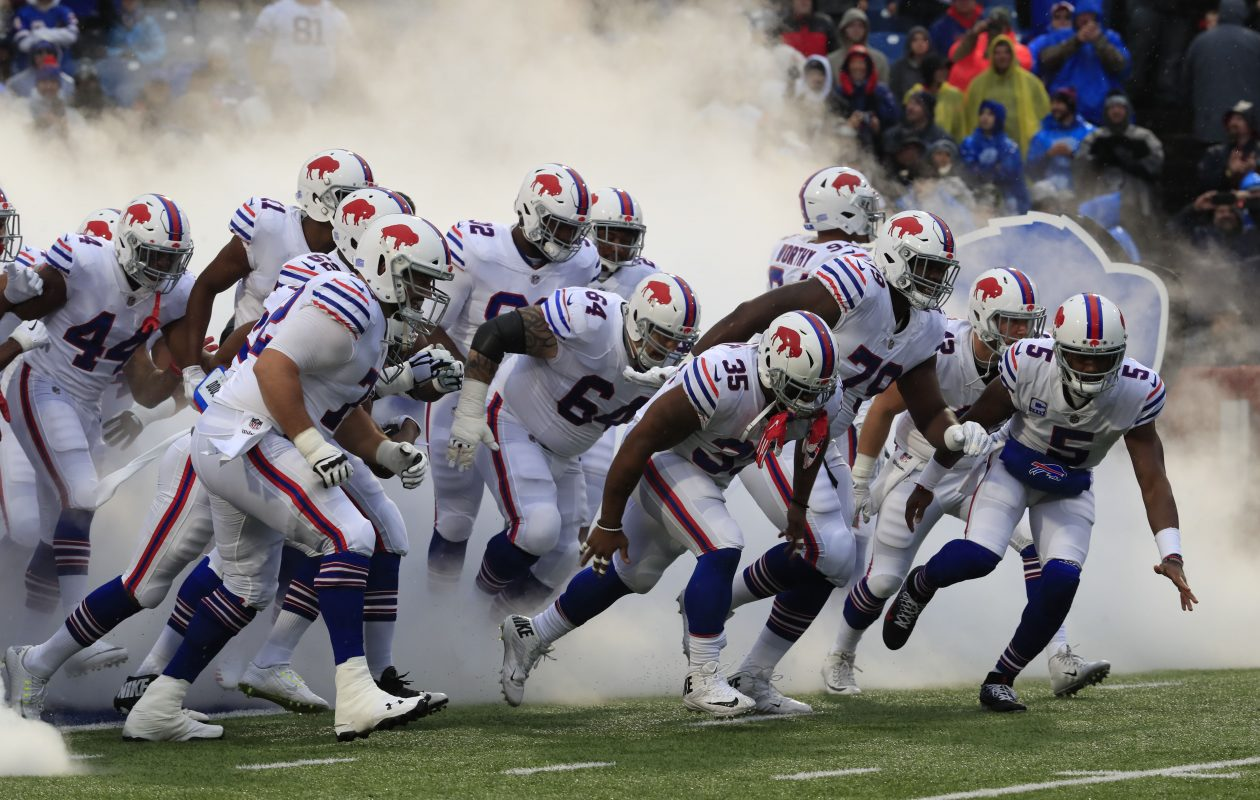 The Buffalo Bills take the field to face the Oakland Raiders at New Era Field in Orchard Park on Sunday, Oct. 29, 2017.  (Harry Scull Jr./ Buffalo News)