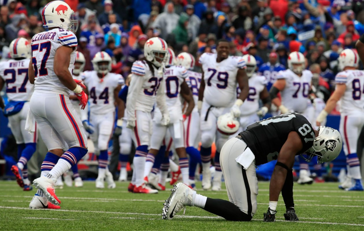 Oakland Raiders tight end Jared Cook (87) is slow to get up after the Buffalo Bills recovered a fumble during the third quarter at New Era Field in Orchard Park on Sunday, Oct. 29, 2017.  (Harry Scull Jr./ Buffalo News)