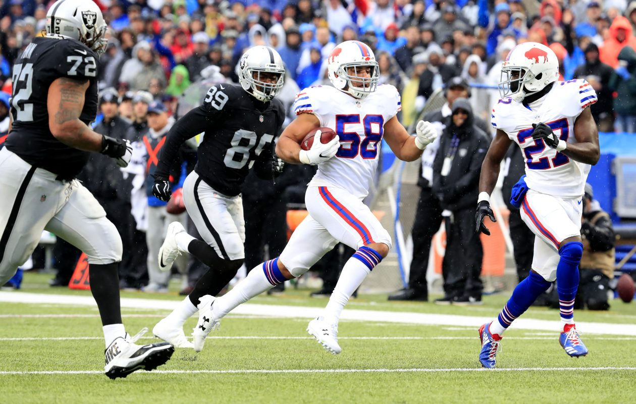 Buffalo Bills rookie Matt Milano returns an Oakland Raiders fumble for a touchdown. (Harry Scull Jr./Buffalo News)